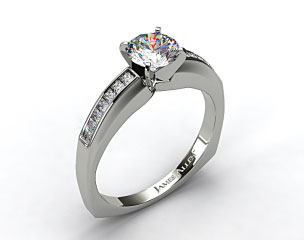 14k White Gold Channel Set Squared Shank Princess Shaped Engagement Ring